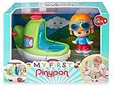 Pinypon - My First, Happy Vehículos Helicóptero, Mi primer helicóptero de juguete con un cilindro de dibujos, hélices y ruedas, Incluye la figura de aviador con caras diferentes, FAMOSA (700016383)
