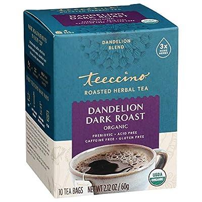 Teeccino Dandelion Tea – Dark Roast – Rich & Roasted Herbal Tea That's Caffeine Free & Prebiotic with Detoxifying Dandelion Root, 10 Tea Bags