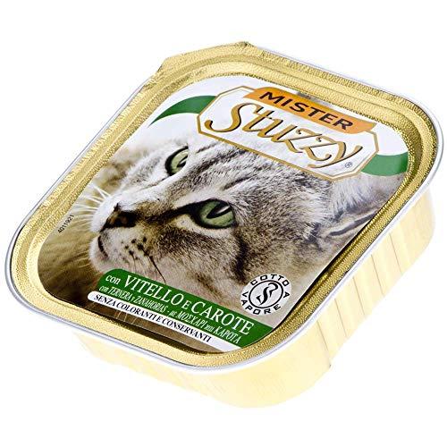 Mister Stuzzy Cat Pate - Becerro con Zanahoria, Comida para Gatos mojada en Pastel, 32 Cuencos de Aluminio x 100 g, 3,2 kg ⭐