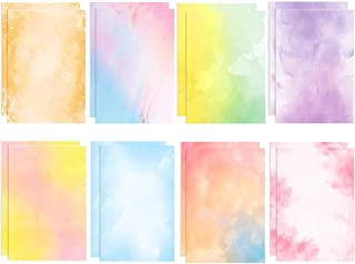 Stationary Paper 48 Pack of Watercolor Letter Writing Paper, Decorative Printer Stationery Sheets with Assorted Designs - Double-sided Printing - 8.5 x 11 Inch
