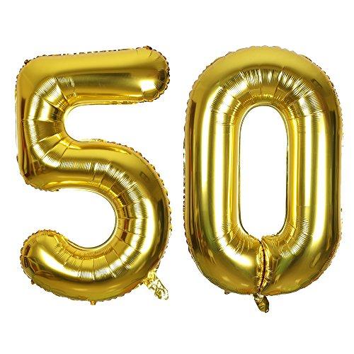 SMARCY Palloncini 50 Anni Palloncino per la Decorazione del 50 ° Compleanno (d'Oro)
