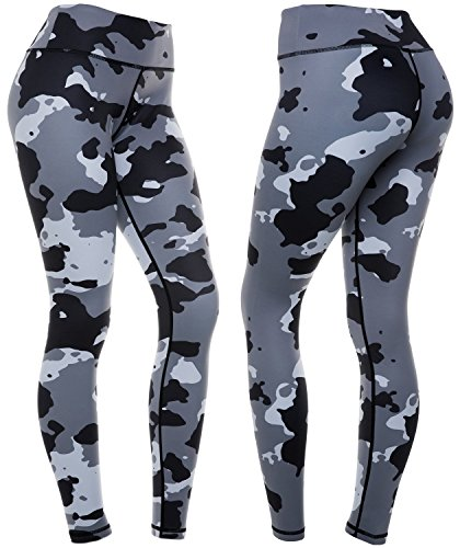 CompressionZ Women's Compression Pants (Camo - L) Best Full Leggings Tights for Running, Yoga, Gym
