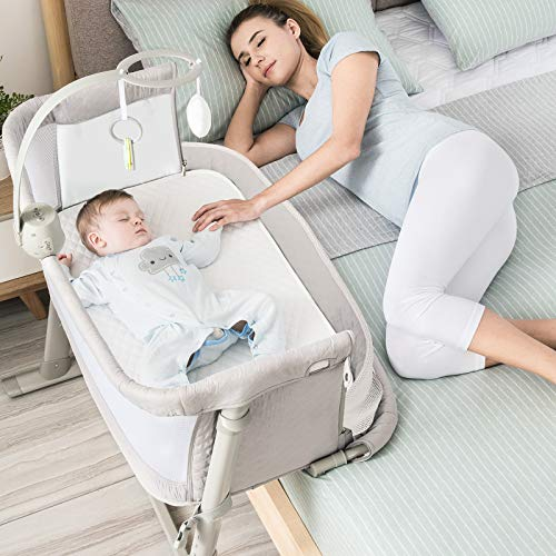 RONBEI Bedside Sleeper Baby Bed Cribs