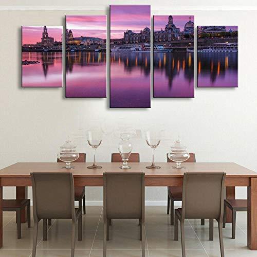 QQWW Cuadro Moderno En Lienzo,5 Piezas XXL Dresden Alemania Castillo Catedral Barco Purple Sky HD Abstracta Pared Imágenes Modulares Sala De Estar Dormitorios Decoración para El Hogar