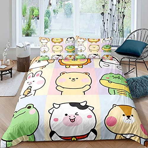 Kawaii - Juego de cama de 3 piezas, diseño de conejo sonriente y vida silvestre para niños y niñas, diseño de león de dibujos animados a cuadros ultra suave