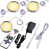 Lvyinyin Under Cabinet LED Lights Kit, Wireless RF Remote Control Dimmable, Linkable Connection, UL Wall Plug Adapter, 3 Puck Lights Set, Warm White, White Cable, Kitchen Counter Closet Lighting