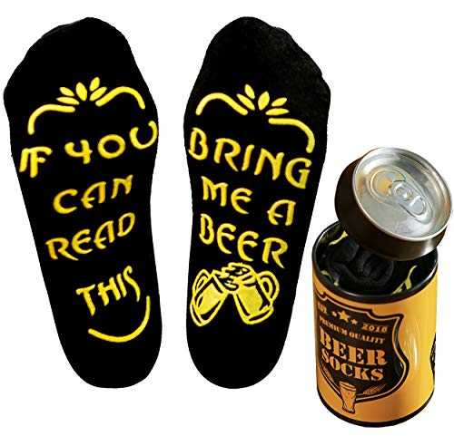 Top-Geschenk24.de Beer Socks in a design Beer can, Gifts for Men, if You can Read This Bring me a Beer, Present for boyfriend, husband, brother, father, Birthday Present