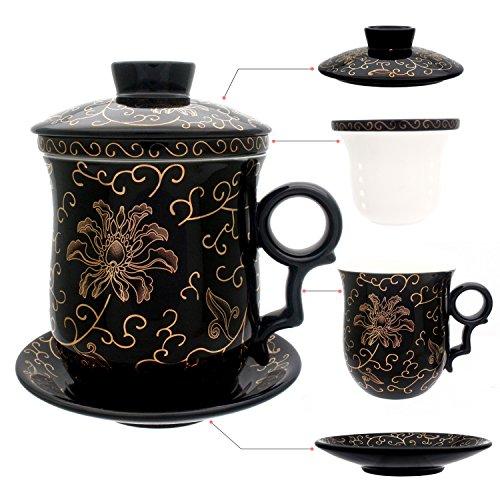 Hollihi-Tasse en porcelaine avec couvercle, soucoupe et infuseur, tasse à thé chinoise en porcelaine de Jingdezhen, pour la maison ou le bureau