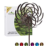 Solar Wind Spinner Willow Leaves-Improved 360 Degrees Swivel Multi-Color LED Lighting Solar Powered Glass Ball with Kinetic Wind Spinner-Metal Sculpture Construction-Outdoor Yard Lawn & Garden