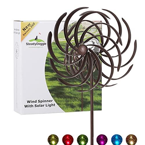 Solar Metall Windrad - mit LED-Licht - Windspiel für draußen - ganz Leichter Aufbau - wetterfest - extra antike Gartendeko - Windrad LED - standfest - ideal für Terrasse und Garten - Höhe: 155 cm