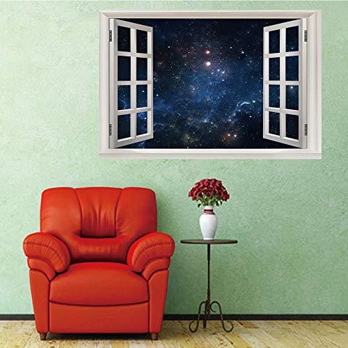 3D Wandaufkleber Fenster Nachthimmel Wandtattoo Vinyl Abnehmbare Wandsticker Kunst Wandbild für Wohnzimmer Schlafzimmer Kinderzimmer Wand Dekoration 60x90 cm