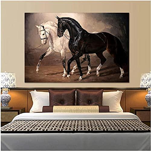 liujiu Caballo blanco y negro Arte de la pared Impresiones en lienzo Arte moderno en lienzo de animales Pinturas en la pared Cuadros en lienzo Carteles Decoración de la pared-Unframed_30x50cm