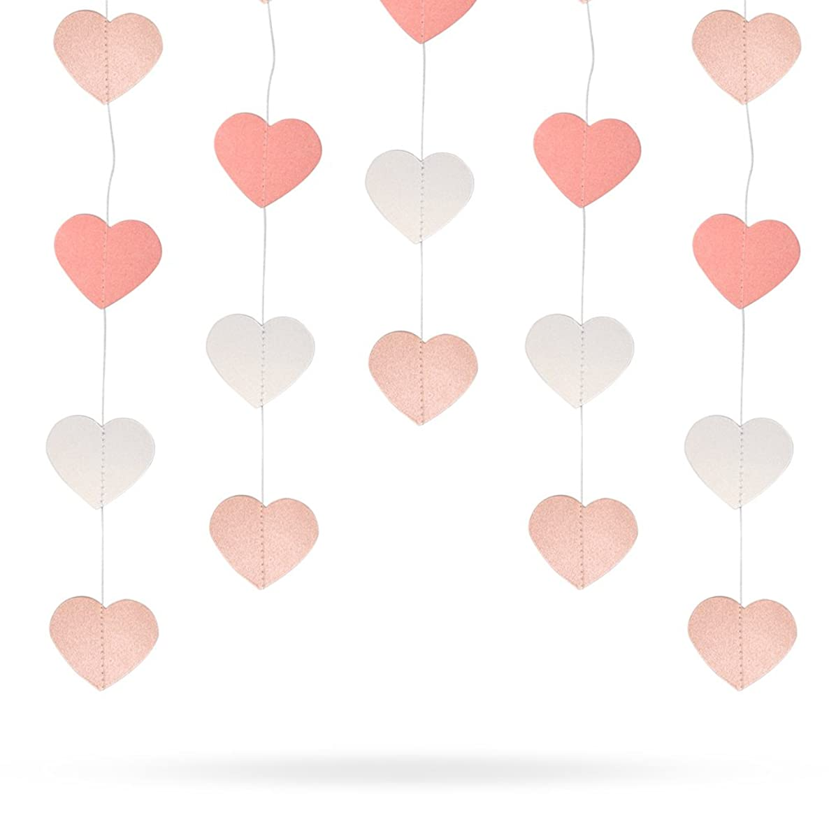 4 Pack 52.4 Feet Heart-shaped Rainbow Paper Garland Hanging Decorations (Pink and White Gradient )for Wedding Party Birthday Decorations by Erlvery DaMain