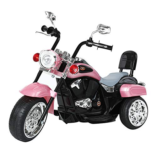 FREDDO TOYS Chopper Style Electric Ride ON Motorcycle for Kids - 6V Battery Powered 3 Wheel Ride ON Toy for Boys, Girls, and Toddlers (Pink)