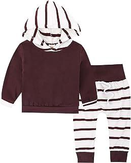 amropi Bebé Niñas Conjunto de Ropa Manga Larga Floral Sudaderas con Capucha Pantalones Chandal Trajes por 0-24 Meses