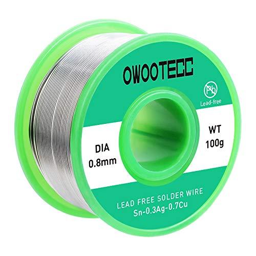 Owootecc Fil à souder 0,8 mm avec noyau en colophane fil d'étain, 100 g, Cu 0,7 % Ag 0,3 % pour soudure électrique et bricolage