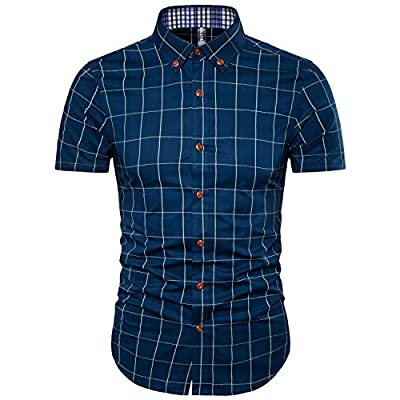 Manwan Walk Men's Cotton Short Sleeve Slim Fit Button Down Plaid Dress Shirt W2311