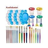 DDLL 34pcs Kinder Malerei Set, Kinder DIY Bürste + Palette + Graffiti Schwammbürste + 2 in 1 Pen Wash Farbeimer, Geeignet für Kinder im Alter von 3-15