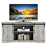 Yartaka Farmhouse Sliding Barn Door TV Stand, Brown TV Stand for 65' Television, 59' Wood Entertainment Center, Home Living Room Storage Cabinet Table with Movable Shelf (59inch, Brown)