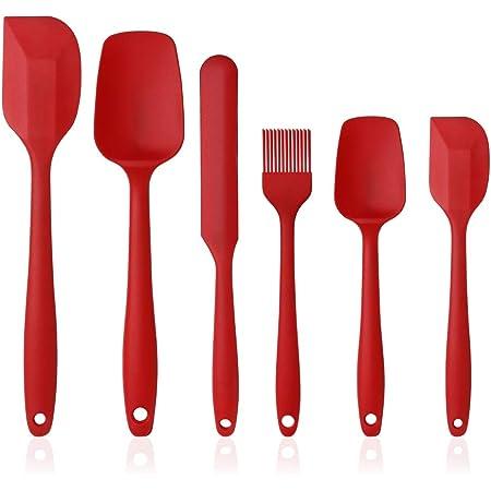 Vicloon Spatule de Silicone de Cusine Kit, Ustensiles en Silicone 6 Pack comme Ustensiles de Cuisine Antiadhésifs Include Cullière Spatule etc, pour Cuisine et Faire des Gâteaux(Rouge)