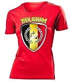 Belgien Belgium Belgique Fan t Shirt Artikel 3327 Fuss Ball EM 2020 WM 2022 Team Trikot Look Flagge Fahne Jersey Football Frauen Damen Mädchen XXL