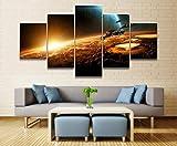 baixiangguo Pintura Decoración Impresión 5 Arte De Pintura Moderna   Lienzo Decorativo para Sala De Estar O Dormitorio-150Cm X 80Cm,Ruta De Vuelo De La Nave Espacial