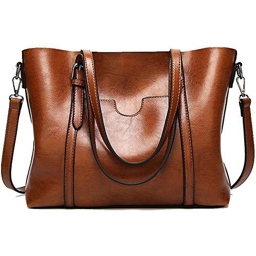 Shoulder Bags For Women Tote Fashion Satchels Classic lady Purses For Woman Handbag Designer Work Top Handle Bags (Brown)