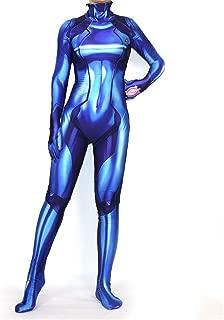 AMWNN Women Zero Cosplay Halloween Samus Zero Cosplay Costume Bodysuit Jumpsuit Blue/Black.