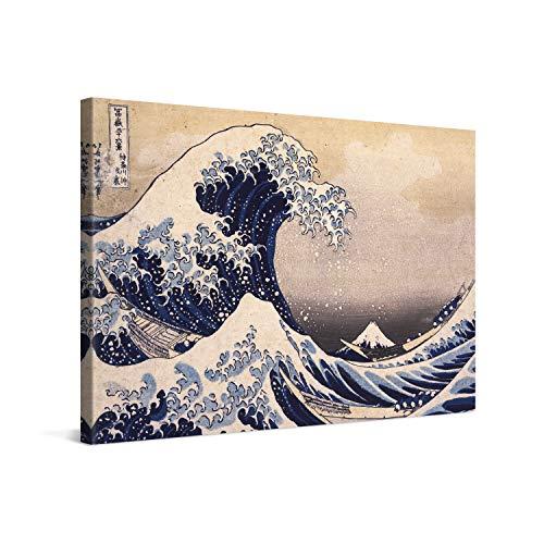 PICANOVA – Katsushika Hokusai – The Great Wave off Kanagawa 120x80cm – Quadro su Tela – Stampa Incorniciata con Spessore di 2cm Altre Dimensioni Disponibili Decorazione Moderna – Arte Classica