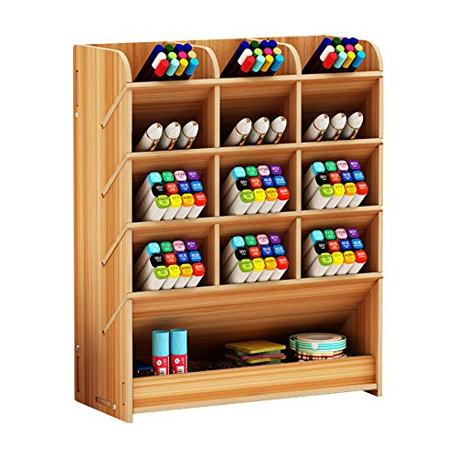 Organizador de escritorio de madera, caja multifuncional de lápices de...