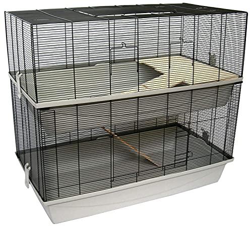 PETGARD Mäuse- und Hamsterkäfig, mehrstöckiges und großes Nagerhaus mit 2 Ebenen und 2 Holzleitern, 98x52x89 cm, Carlos