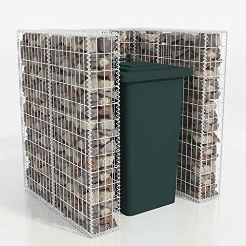 Festnight Gabione Mülltonnenbox Mülltonnenverkleidung für 1 Mülltonne U-förmig 110 x 100 x 120 cm Stahl
