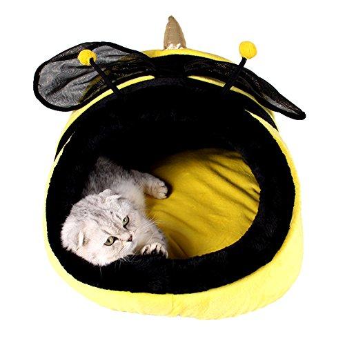 ZuckerTi Tierbett Hundebett Hundesofa mit Kuscheleinlage für Pet Hund Katze Haustier in 3 Größen(S/M/L) wählbar (KS - L17 x W18 x H13 cm, Gelb Biene)
