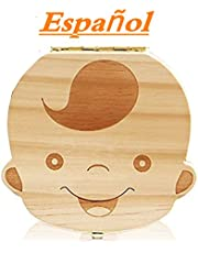 Westeng Caja Almacenamiento Madera Almacenaje para Dientes De Leche Niño Español,1Pcs