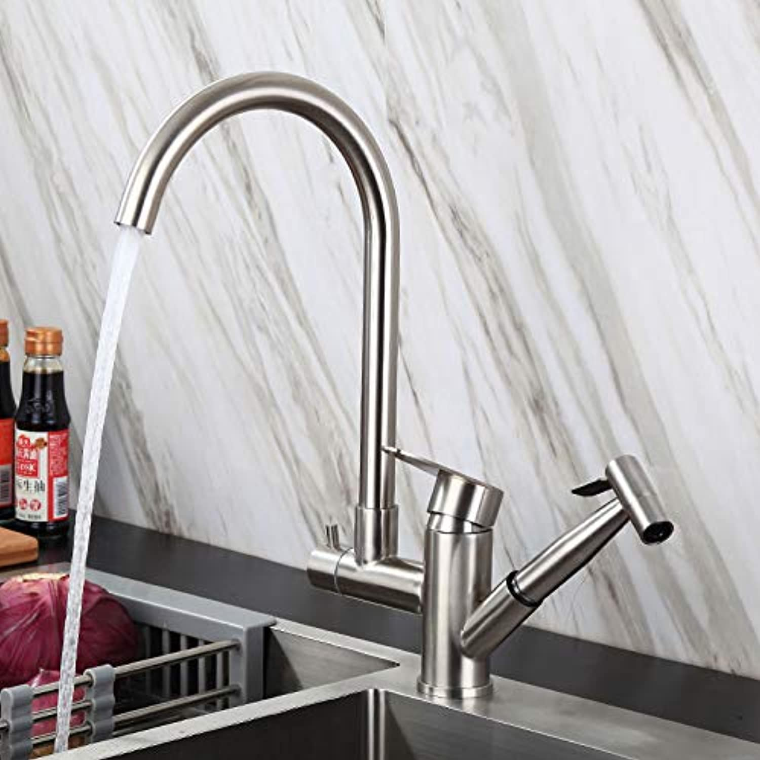 304 Stainless Steel Mesh Red Multi-Function Kitchen Faucet Pull Type Hot and Cold Sink Sink Retractable Faucet Round Robot