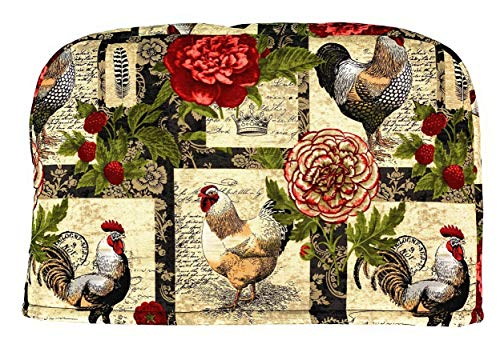 4 Slice Slot Barnyard Farm Roosters and Flowers Reversible Toaster Appliance Dust Cover Cozy 11.5(l) x 7.5(h) x 11.5(w)