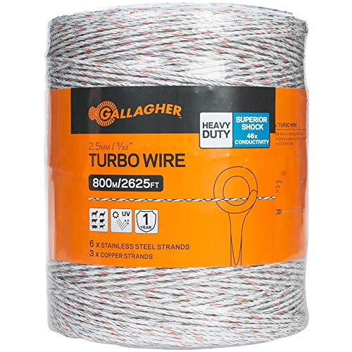 "Gallagher Electric Fence Turbo Wire | 9 Mixed Metal Strands for 40x More Conductivity and Extreme Power | Ideal for Long Portable Fences | UV, Rust Resistant | 3/32"" Diameter Turbowire 