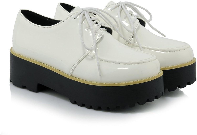 Davikey Womens Patent Leather Lace Up Round Toe Platform Pumps shoes