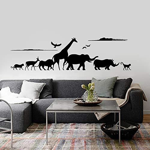 ganlanshu Wilde Tier Vinyl Wandaufkleber Giraffe Tier Nashorn AFFE Kindergarten Zimmer Wandaufkleber abnehmbare Hauptdekoration 85cmx24cm