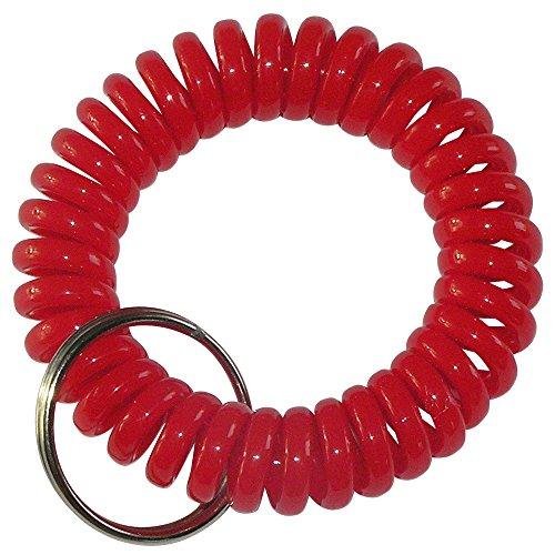 keyfix 5 x Schlüsselband, Fitness Spiral Armband für Garderoben Spind Schlüssel, 5er Pack rot, KF15