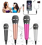Mini Microphone, Equipped with omnidirectional Stereo Microphone, Mini Karaoke Microphone, Suitable for Laptop, iPhone, Android Phone[2PCS] (with Stand) (Rose Gold + Pink)