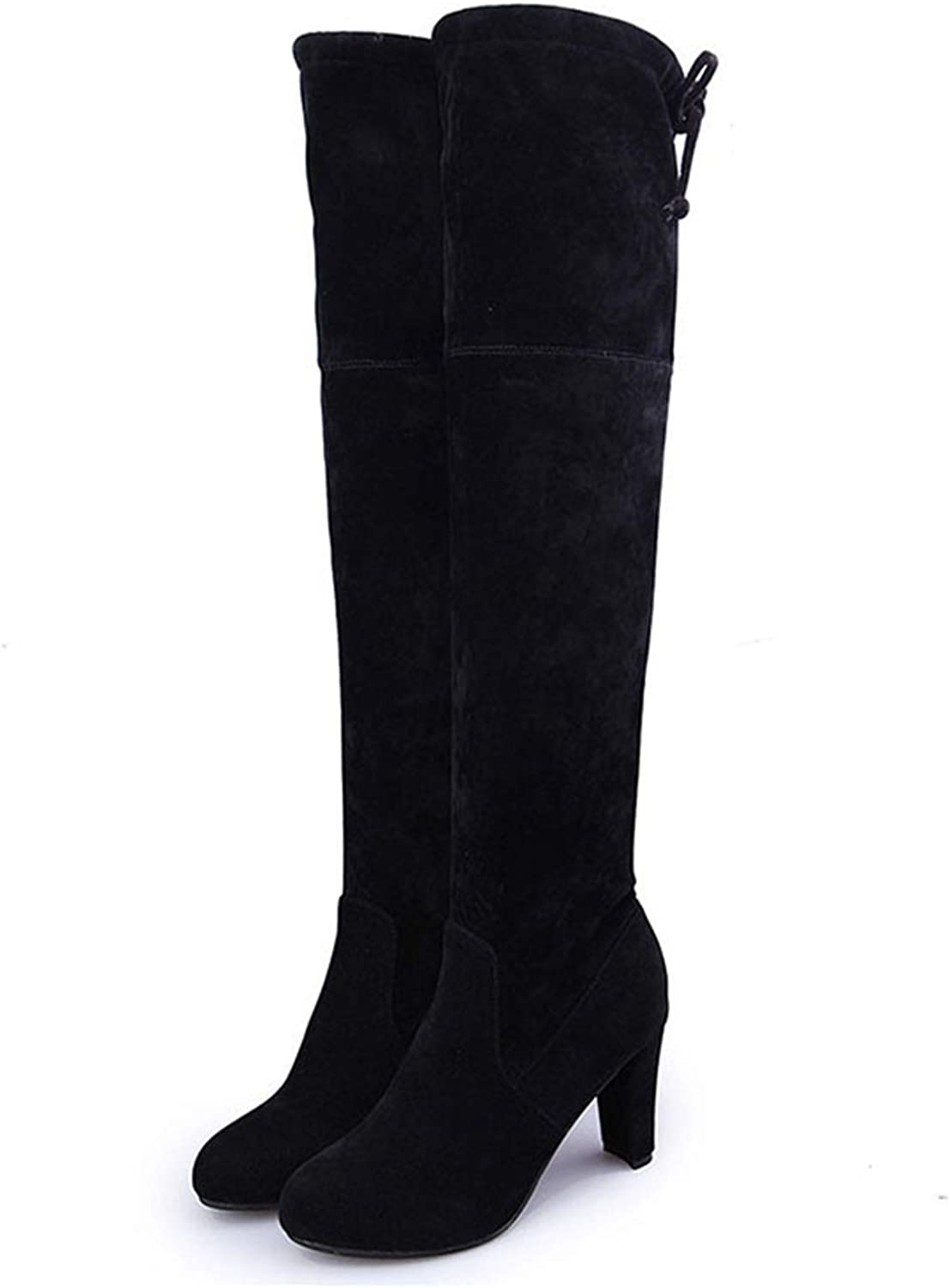 Female Winter Thigh High Boots Leather High Heels Women Over The Knee shoes