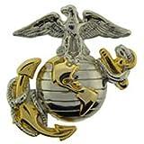 US Marine Corps Emblem, E2, Left Cap Gold Silver USMC Lapel Hat Pin