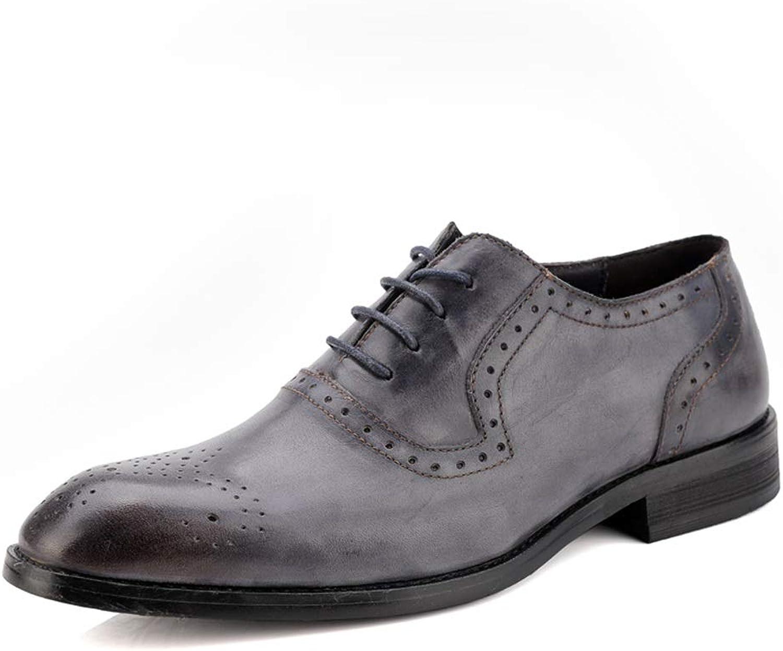 JIALUN-Schuhe Herrenmode Business Oxford Casual Classic Farbe und Geschnitzte atmungsaktive Brogue Schuhe (Farbe   Grau, Gre   46 EU)