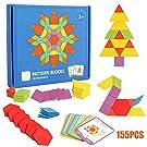 155 Pcs Wooden Pattern Blocks Set Geometric Shape Puzzle Kindergarten Classic Educational Montessori Tangram Brain Teasers STEM Toys for Kids Ages 4-8 with 24 Pcs Design Cards