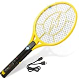 Electric Fly Swatter - Large Rechargeable Bug Zapper + Built-in Flashlight + USB Cable - 4200-Volt...