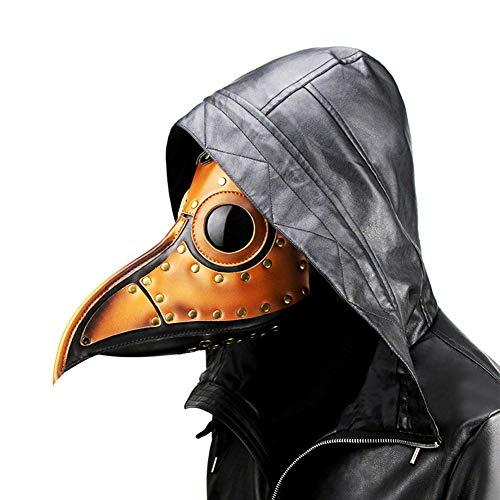 JAQ Halloween-Partei-Kostüm Pest-Doktor Maske Leder Lange Nase Bird Beak Steampunk Maske Kostüm Requisiten für Maskerade Halloween-Party-Karneval Cosplay