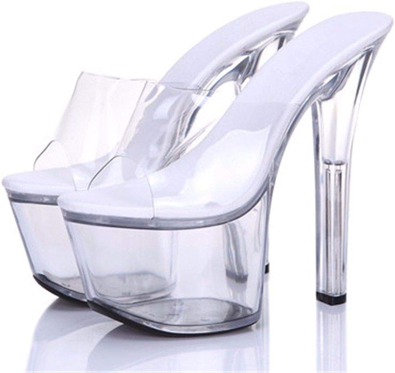FLYRCX Im europischen Stil Frauen Rutschfeste Transparente feine Heel Sandalen Sommer sexy Mode Persnlichkeit Hausschuhe Europische Gre  34-43
