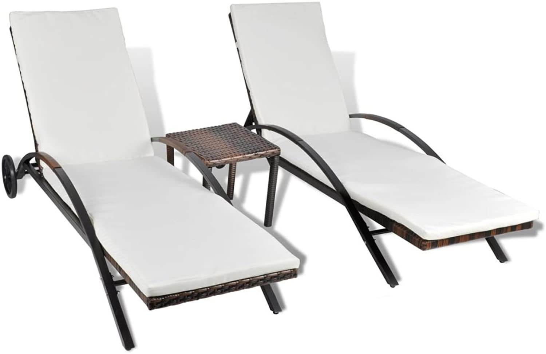 VidaXL Sonnenliege 3-TLG. Poly Rattan Gartenlige Relaxliege Gartenmbel Tisch
