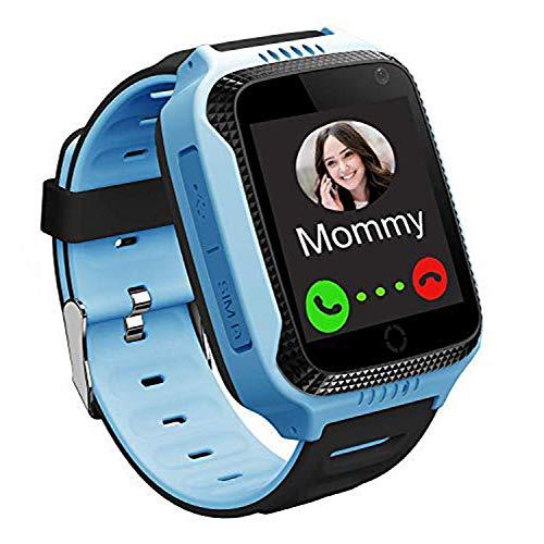 PTHTECHUS Reloj Inteligente Teléfono para niños, GPS Rastreador Podómetro Impermeable cámara SOS Pantalla táctil HD Conversación Bidireccional Reloj Inteligente para niños, Regalo para niños, Blue
